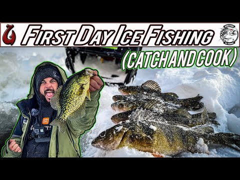 First Day Ice Fishing Lakes Region NH For Tons Of Perch, Giant Crappie, And Bass (Catch And Cook)