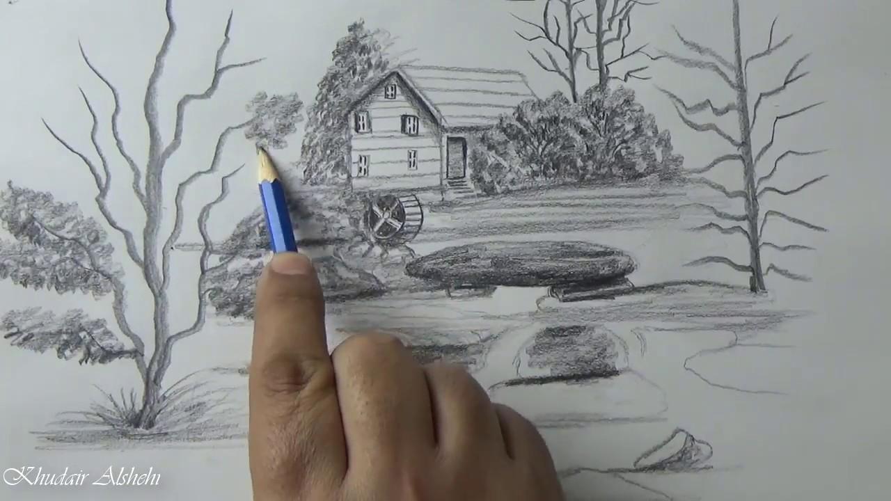 كيفية رسم منظر طبيعي للمبتدئين بالرصاص Youtube