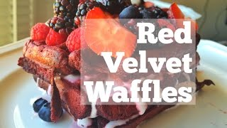 Red Velvet Waffles and Coconut Whipped Cream