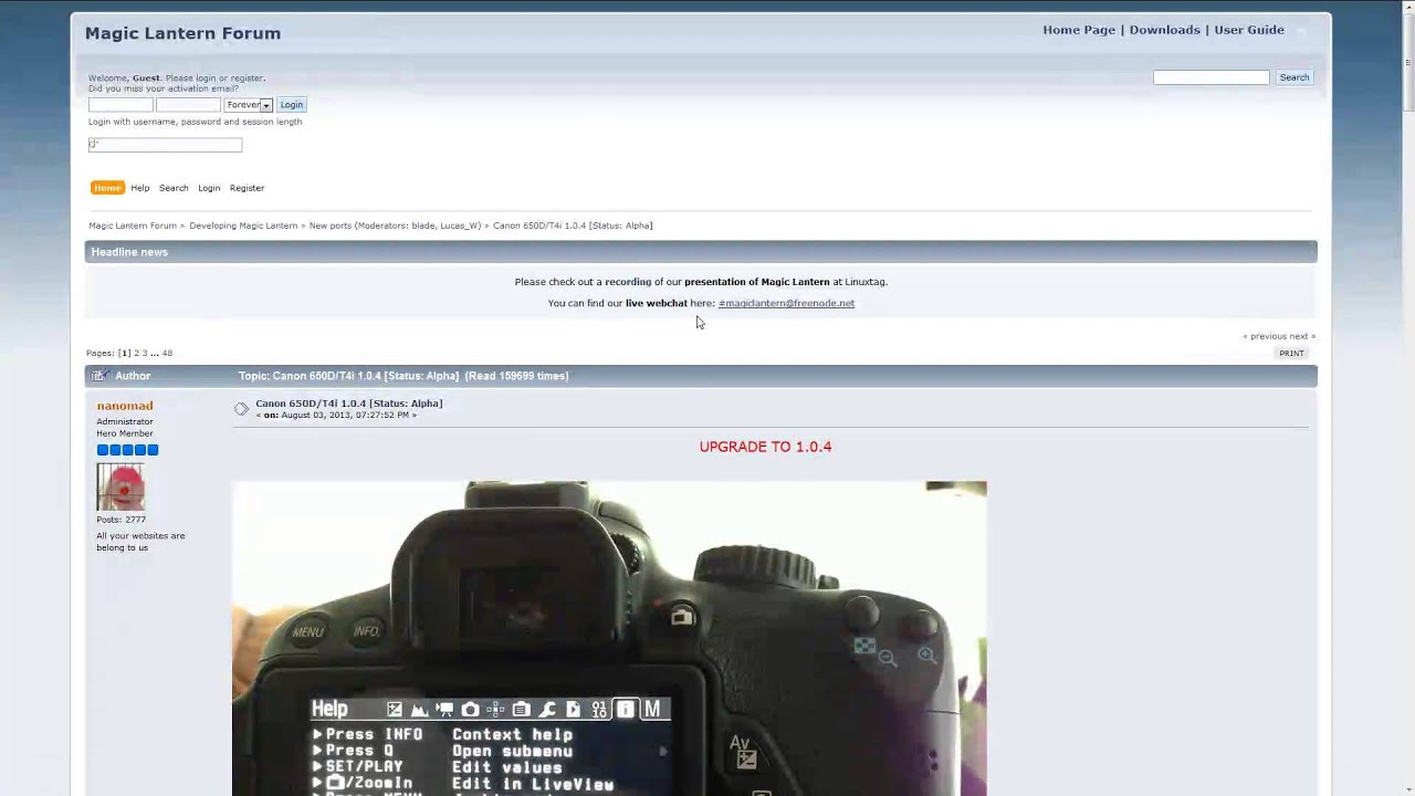 Canon Rebel T4i 650D Kiss X6i Magic Lantern 2 3 Install and Remove Firmware  Open Source T5i 700D X7i
