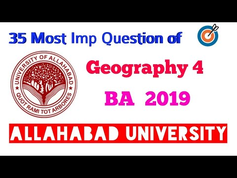 Allahabad University Entrance Exam | Geography B.A.