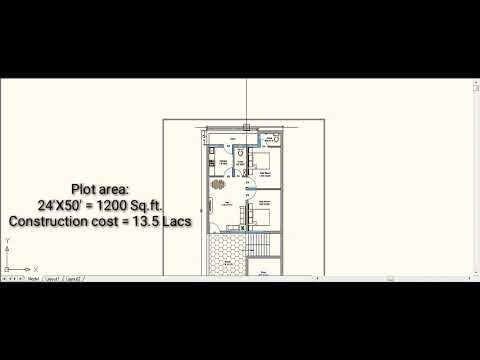 24 X50 House Plan At Construction Cost 13 5 Lacs 1200 Sq Ft House Plan Youtube