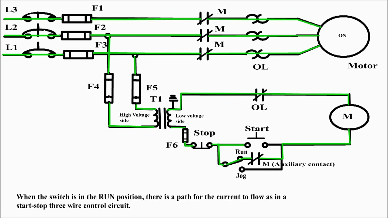 jogging circuit control jogging an electrical motor jog motor rh youtube com wiring diagram for electric motor starter wiring diagram for electric motor with capacitor