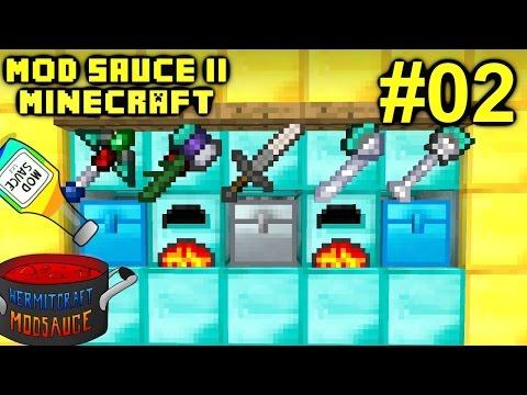 Minecraft Mods - Mod Sauce II Ep. 02 - New Tools & Ore Doubling !!! ( HermitCraft Modded )