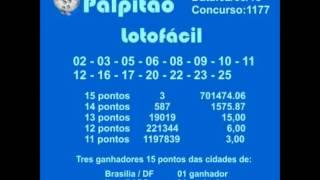 LOTOFACIL CONCURSO 1177  02032015