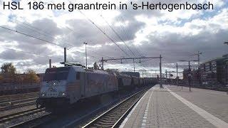 4K | HSL 186 181 komt met monfer graantrein door 's-Hertogenbosch onderweg naar Oss!