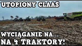 Utopiony Kombajn ! - Wyciąganie na 4 Traktory! - Kukurydza 2017