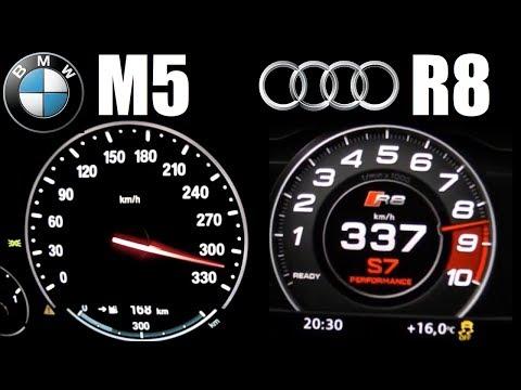 NA Or TURBO ?! Audi R8 V10 Plus (610HP) Vs BMW M5 F10 (560HP) 0-330 Km/h Top Speed