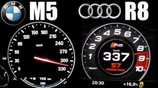 Audi #R8 V10 Plus (610hp) vs BMW #M5 F10 (560hp) 0-330 km/h Acceleration Top Speed