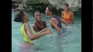 Girls at the Beach.  Whitehouse, Westmoreland, Jamaica.