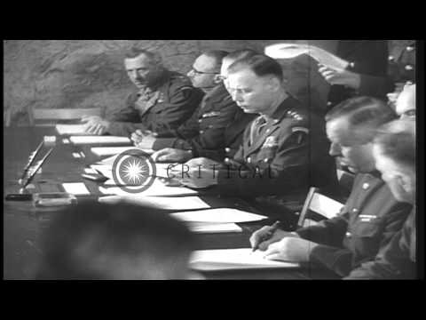Germans surrender during World War II as General Jodl sign papers at the headquar...HD Stock Footage