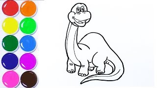 Learn Color Name with Dinosaur Orange Red Green Blue Black How to draw a Cartoonic Dinosaur   Kids L