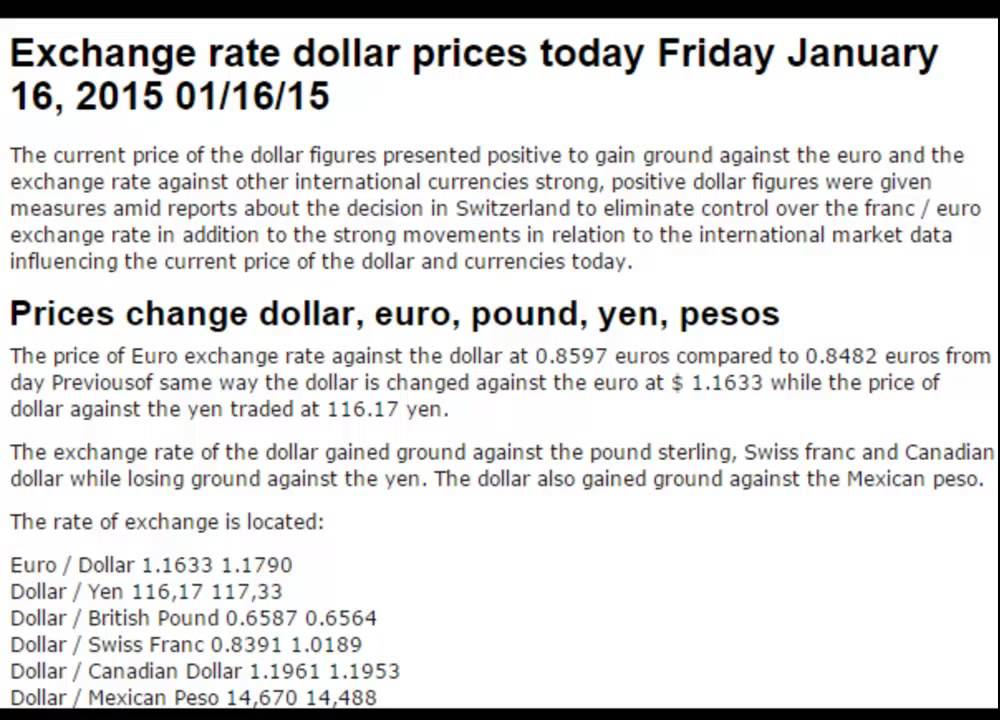 Dollar Exchange Rates British Pound Prices Today Friday January 16 2017 01 15