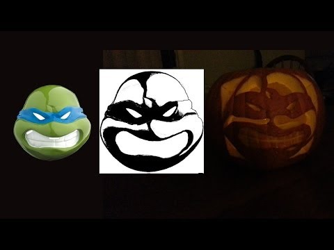 Making a Ninja Turtle Stencil And Carving a Ninja Turtle Pumpkin | free stencil