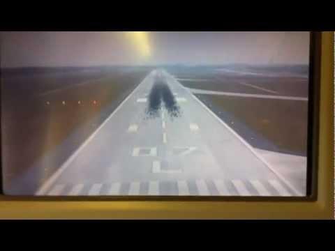 landing frankfurt Emirates 777-300, with camera view