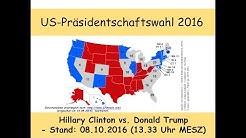 US-Präsidentschaftswahl 2016: Clinton vs. Trump – Umfragen und Prognose Stand: 08.10.2016 (13.33)