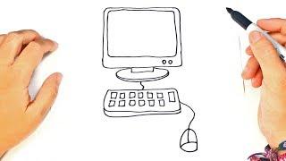 Cómo dibujar una Computadora paso a paso | Dibujo fácil de PC