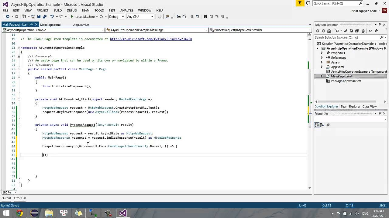 Windows Store App - HttpWebRequest & HttpWebResponse