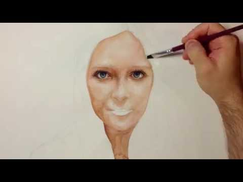 Drawing Time Lapse - Watercolor Portrait of Girl - Портрет Девушки Акварель