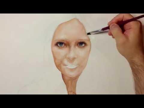 Drawing Time Lapse - Watercolor Portrait of Girl - Портрет Девушки Акварель