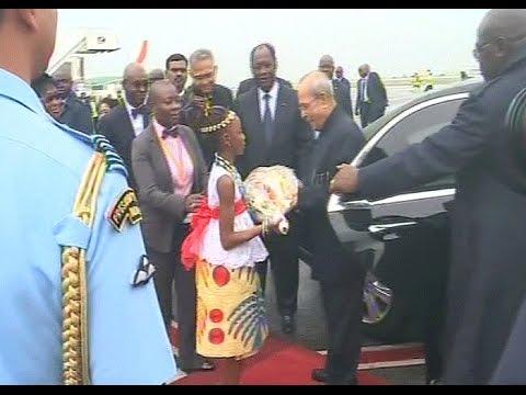 Arrivée du Président Indien Shri Pranab Mukherjee en Côte d'Ivoire