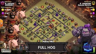Perfect HDV9 vs HDV9 / Golem + hog Clash of Clans