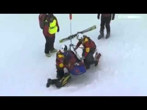 USA horrific injuries skier Lindsay Vonn in Super-G  [HD]  05.02.2013.