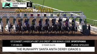 Rock Your World wins the Grade 1 RUNHAPPY Santa Anita Derby on April 3rd, 2021.