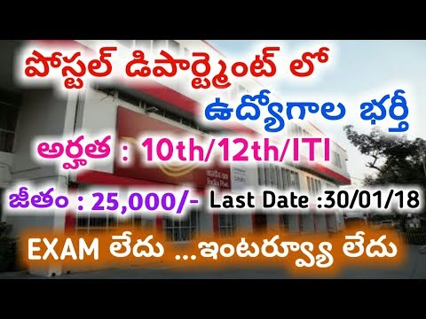 AP Postal Recruitment Notification 2017 | Sports Quota | Job Search | MTS postman