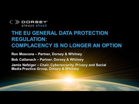 The EU General Data Protection Regulation (GDPR):  The Time