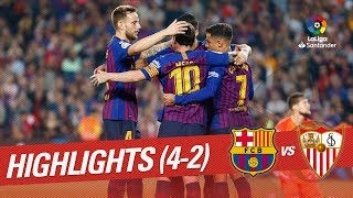 Fc barcelona won the match against sevilla 4-2. coutinho, messi, suarez and rakitic scored goals of victory. laliga santander 2018/2019 subscribe ...