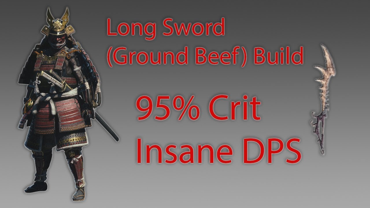 MHW: Long Sword (Ground Beef) Build! 95% Crit + Insane DPS! Super