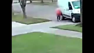 Delivery driver caught on camera running over package repeatedly, destroying it | ABC7