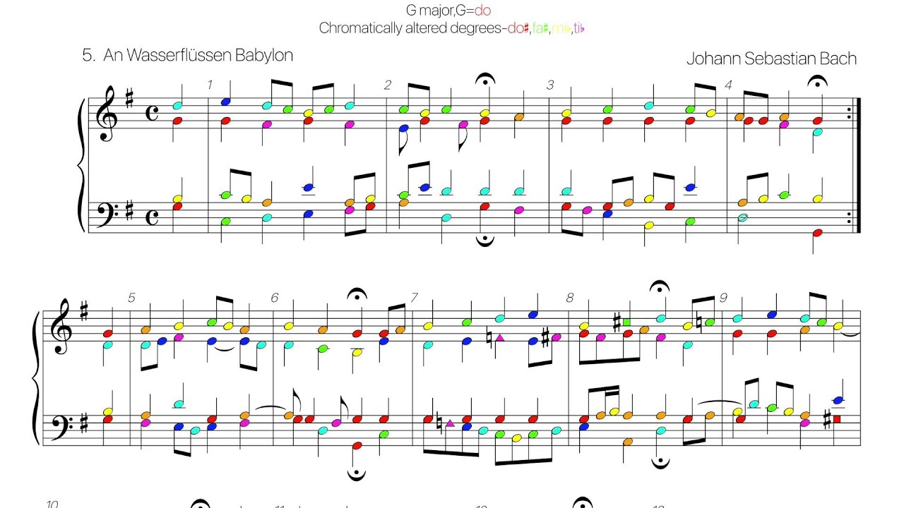 Bach chorale BWV 267 colored score (370 chorales no.5) - YouTube