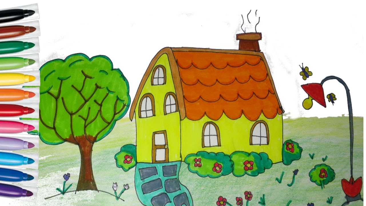 how to draw and paint house teaching drawing for kids youtube