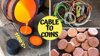 Trash To Treasure - Cable To Coins - Pouring Copper Coins From Scrap