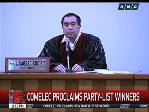 Comelec proclaims party-list winners