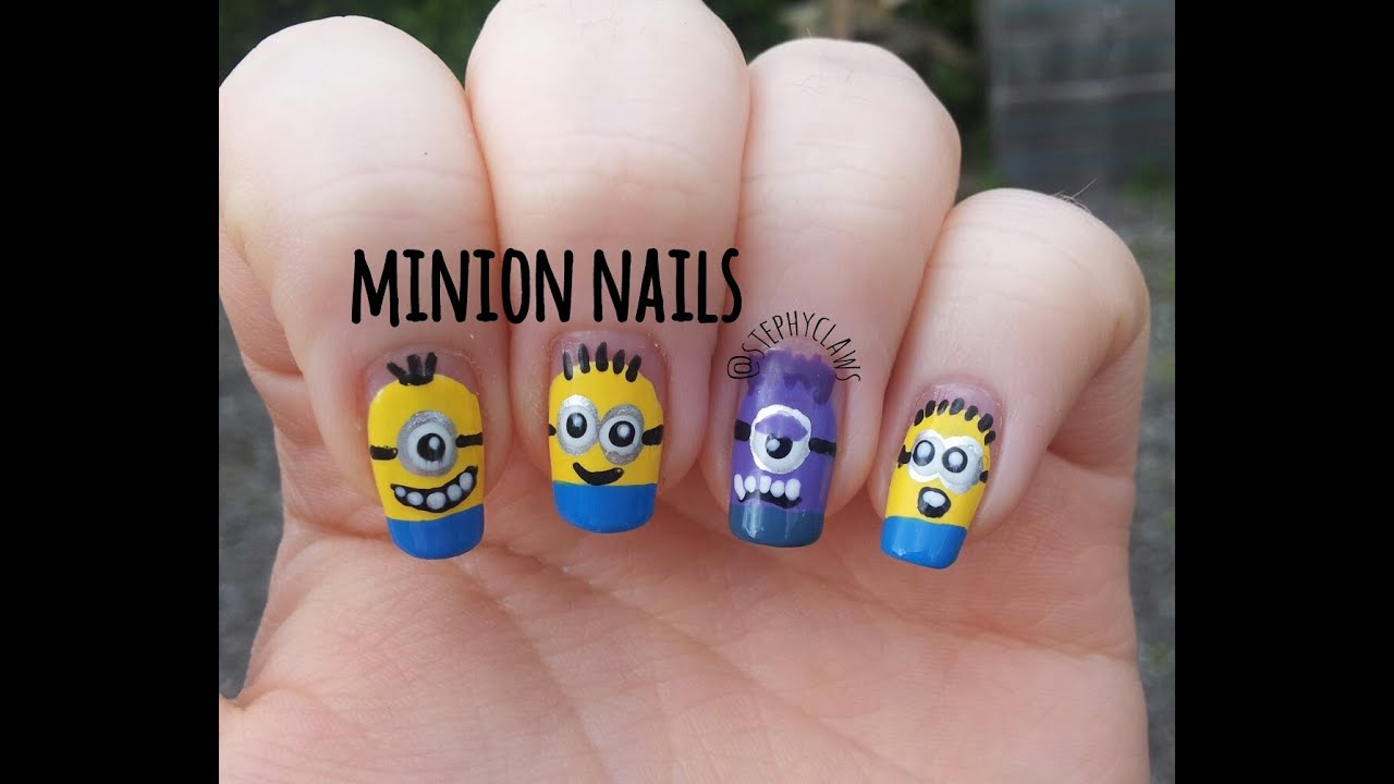 Simple Despicable Me 3 Minion & Evil Minion Nail Art Design Tutorial ...