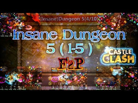 Castle Clash F2P Insane Dungeon 5 ( 1-5 ) Gameplay