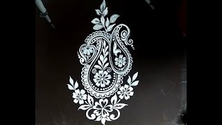 HOW TO DRAW BEAUTIFUL DOOR ALPONA DESINGS/EASY KOLAM DESIGNS/RANGOLI WITH BRUSH EFFECTS