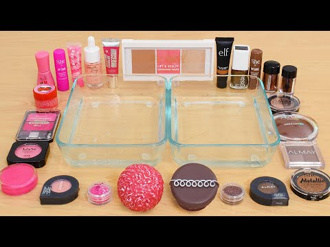 Strawberry Vs Chocolate - Mixing Makeup Eyeshadow Into Slime ASMR 391 Satisfying Slime Video