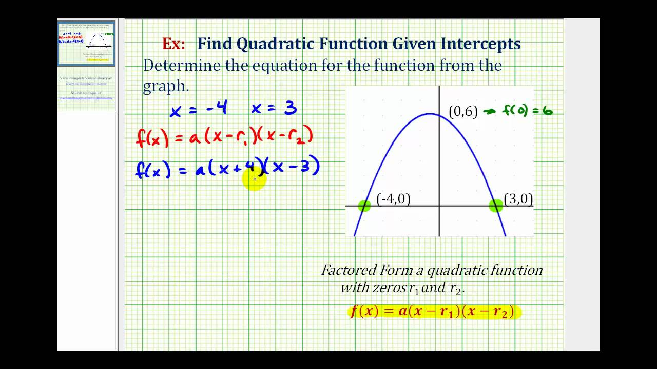 Ex: Find a Quadratic Function Given the Intercepts of the Graph ...