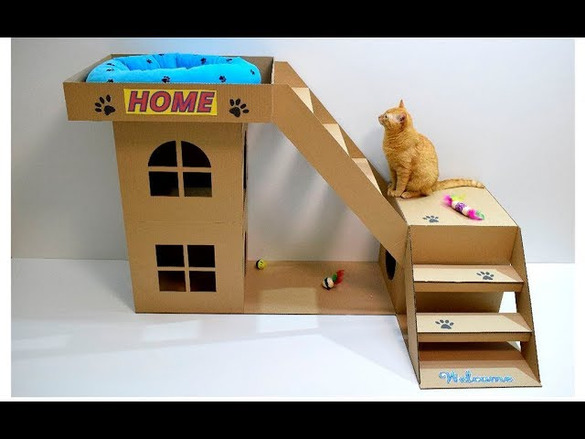 How To Make A House For A Cat Out Of Cardboard Youtube