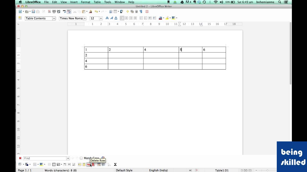 How to delete Rows, Columns and Table in LibreOffice Writer