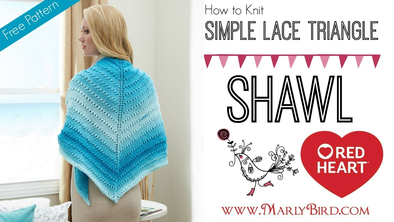 How to Knit One Skein Simple Lace Triangle Shawl - YouTube