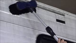 Easily cleaning heavy Bug and Black Streak buildup on RV's