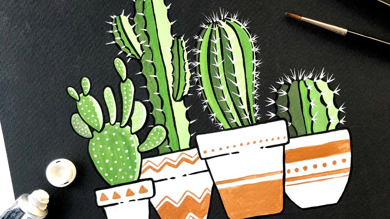 Gouache Painting Cactus On Black Coldpress Watercolor Paper Youtube