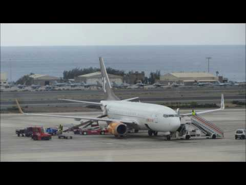 airberlin Boeing 737-800 flight from Las Palmas(LPA) to Leipzig-Halle(LEJ) via Arrecife(ACE) HD/3D