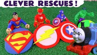 Superman The Flash and Avengers clever Play Doh logo rescues with Thomas and Friends Toy Trains TT4U