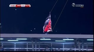 Serbia vs Albania 2014 Fight ~ Albanian flag in Belgrade